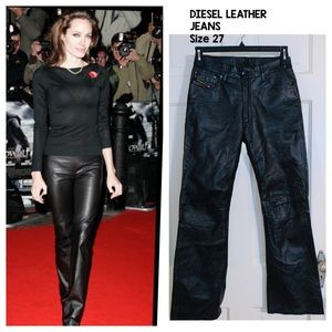 NWT Diesel Black Leather Jeans. Size 27